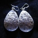 Fine silver earrings Hill tribe thai karen Kuchi Autumn leaf with black dot E96