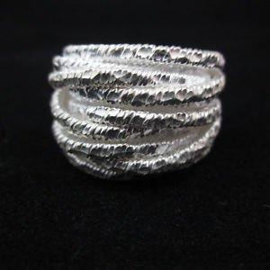 Fine Silver Rings THAI HANDMADE KAREN HILL TRIBE Kuchi hammered twisted R146