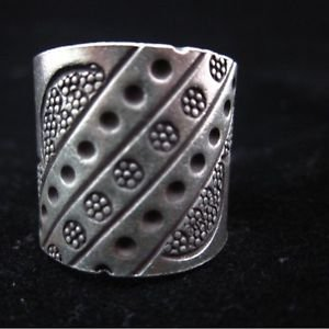 Fine Silver Rings THAILAND KAREN HILL TRIBE Daisy Cloud stamp engraved cool nice