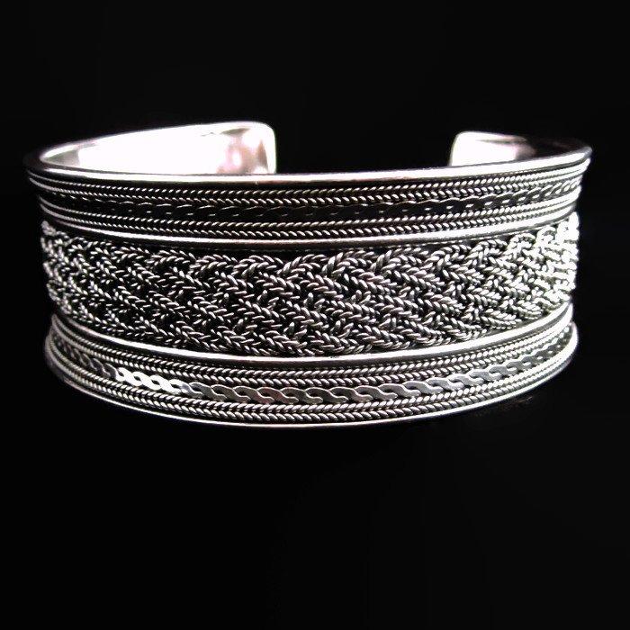 Fashion Silver Bracelet Pigtails Argento Braccialet�to Schmuck Armreif س�ار B01