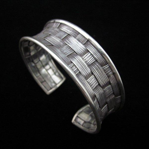 Fashion Silver Bangle Bracelet Braccialetto Hill Tribe Weave Welle Arm Band B13