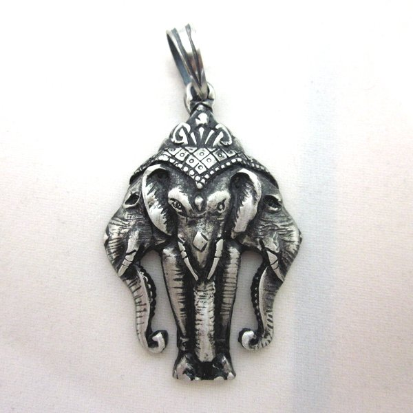 PEWTER Pendant Ciondolo Anhänger Hindi Erawan Airavata 3 heads God Elephant W7