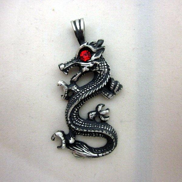 PEWTER Pendant Ciondolo Anhänger Vintage Red Eye Drake Dragon Draco Drachen W10