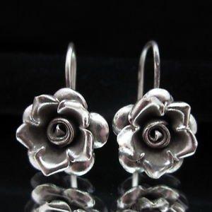 Fashion Silver Earrings Flower Rose Schmuck OHRH�NGER Ohrringe ا�أ�راط  ER160
