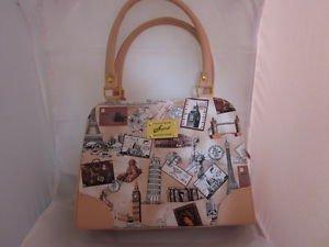 Fashion Womens Purses Shoulder Handbags ح��بة  Geldbörse Beige Travel theme P10