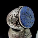 Islamic ring 925 Sterling Silver MENS AYAT engraved Handmade Lapis mens IS03