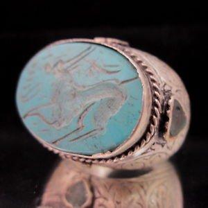 Islamic ring 925 Sterling Silver Handmade Turquoise Ayat al-Kursi engraved IS06