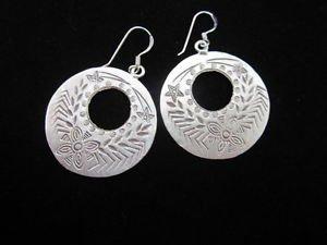Fashion Silver Earrings Tribal Hook Dangle Donut Round Ohrringe ا�أ�راط ER166