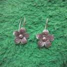 Fine Silver Earrings Hill Tribe Karen Fashions Dangle Flower Petunia CS712591111