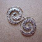 Thai Hill Tribe Earrings Fine Silver Dangle Rough Spiral Round CS26125941