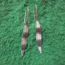 Thai Hill Tribe Earrings Fine Silver Dangle long leaves Grass CS712595