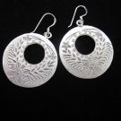 Thai Hill Tribe Earrings Fine Silver Dangle Donut Round Ohrringe الأقراط ER166