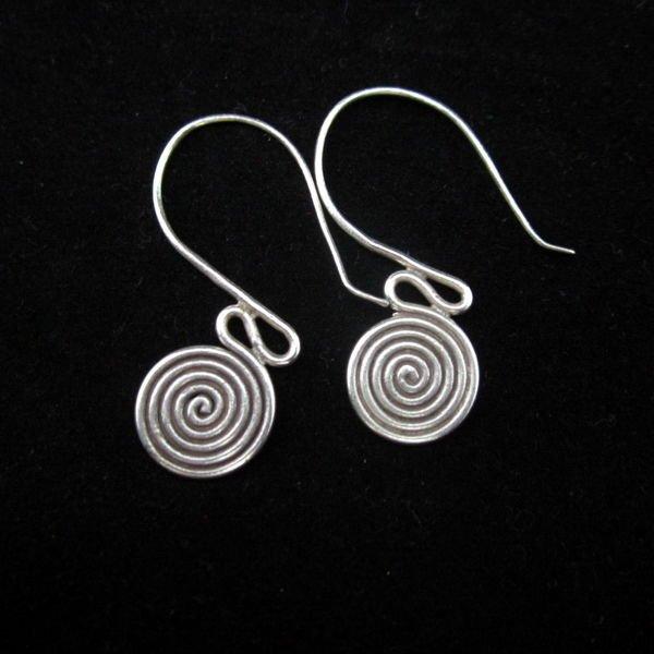 Thai Hill Tribe Earrings Fine Silver Ohrringe Silber Schmuck Spirale ER145