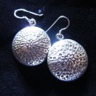 Thai Hill Tribe Earrings Fine Silver Tribal Dangle Round Dome Floral
