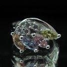 Fashion Brass Ring Size 7 Precious Woman Wedding Multi color CZ anello ringe 9