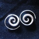 Fine pure Silver Earrings Spiral Round Coil Round Tribal Handcraft Artisan Jewel