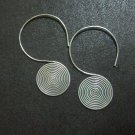 Hill Tribe Fine Fashion Sterling Silver Earrings Spiral Filigree Spin Back hoops