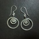 Hill Tribe Fine Fashion Sterling Silver Earrings Spiral Filigree dangle round