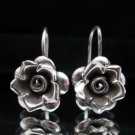 Thai Hill Tribe Earrings Fine Pure Silver Hook Flower Rose Ohrringe الأقراط