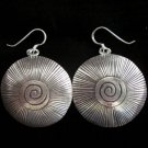 Thai Hill Tribe Earrings Fine Silver with scratch and spiral center Round Dangle