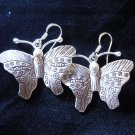 Thai Hill Tribe Earrings Fine Silver tribal Butterfly Handcrafted Dangle Beauty