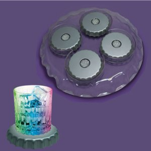 LED Bottle Cap Light Show Coasters & Serving Tray