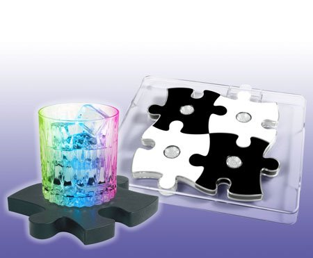 LED Puzzle Light Show Coasters & Serving Tray Set