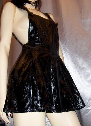 Vintage 90s LIP SERVICE Slick Black PVC Jumper Minidress L. GOTH FETISH.