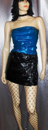Vintage TRIPP SLICK BLACK PVC Micro Mini Skirt & Top PUNK GOTH Outfit~S.