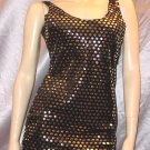 SEXY DIVA Gold Sparkle Shimmery Party Mini Dress S/M