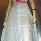 70's Boho White Eyelet Long Peasant Prairie Skirt S/XS
