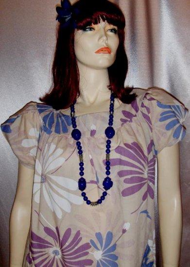 Vintage 70's MOD Flower Power Hawaiian Print Tent Dress SEARS L/X