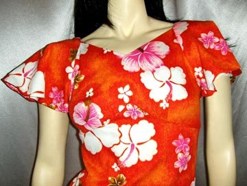 Vintage 70's HAWAIIAN Tropical TIKI GIRL Hibiscus Print Maxi Dress XS