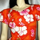 Vintage 70's HAWAIIAN Tropical TIKI GIRL Hibiscus Print Maxi Dress XS