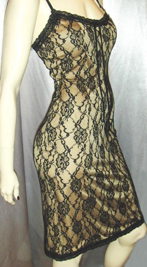 90s BETSEY JOHNSON Sexy SHEER Black Illusion Lace DESIGNER SLIPDRESS S/XS