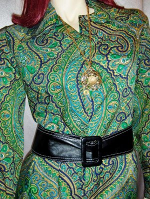 PSYCHEDELIC KALEIDOSCOPE vintage 70's PAISLEY PRINT Blouse Top M. groovy mod