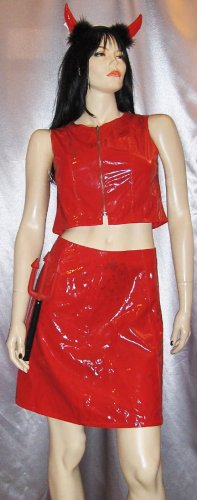 SEXY SHE DEVIL Red Vinyl WET LOOK PVC Mini Skirt & TOP Outfit  Costume M. JR.