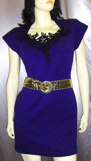 FLASHY 80s Electric Purple Lycra Wiggle MINI DRESS disco diva M