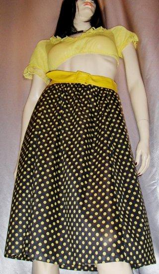 vintage ROCKABILLY GAL Yellow Polka Dot Print A-line 70s Skirt M.