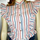 RARE 70s H BAR C Western Pearl Snap Striped Ruffle Top XS rockabilly country girl
