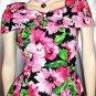 80s does 50s Springtime Flirty Floral Circle Skirt PARTY PROM Mini Dress SZ 7