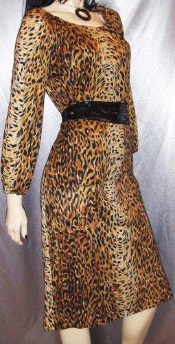 SASSY CAT Vintage 70s LEOPARD PRINT Top & Skirt Set Outfit L XL
