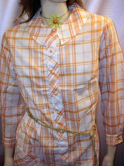 60s Flirty MOD SCHOOLGIRL Tangerine Plaid Print Shirtdress M