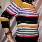 vintage 80s JORDACHE PUFF SLV Striped Designer Sweater MINT S.