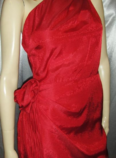 GLAM GRECIAN GODDESS Ruby RED Rosette Vintage Sparkling Party Dress S/M