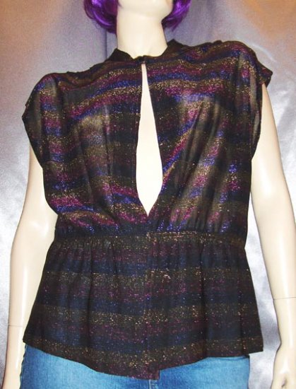 QUEEN OF GLAM 70s SHEER Glitter Rainbow DISCO TOP L/XL mint nos