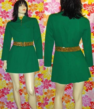 60s MOD SPY-GIRL~Atomic Go Go Babydoll Mini Dress JUICY LIME! M.