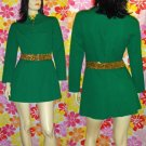 60s MOD SPY-GIRL~Atomic Go Go Babydoll Mini Dress JUICY LIME! M.
