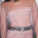 PINK CHAMPAGNE ON ICE Sparkly Glitter Lurex Top S. 70s vintage disco glam