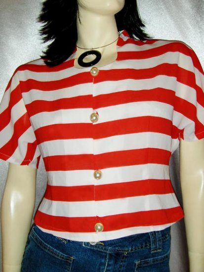 CANDY CANE STRIPES Vintage 80s NAUTICAL BLOUSE TOP S/M new wave